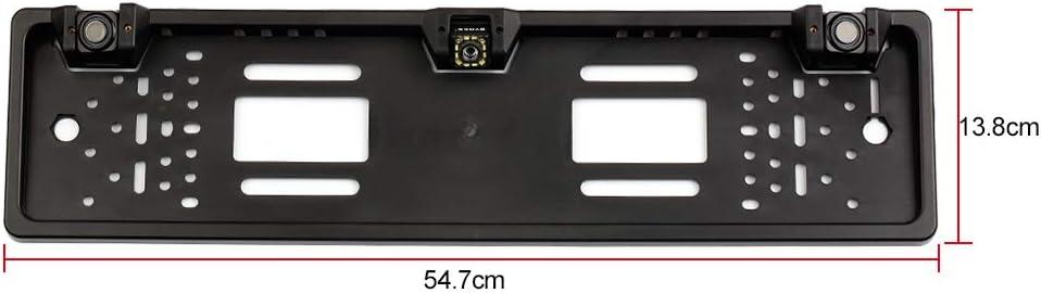 Kecheer C/ámara de copia de seguridad con marco de matr/ícula europea 12 LED C/ámara de visi/ón trasera con sensor de estacionamiento con sistema de radar de marcha atr/ás