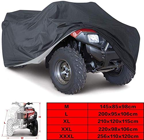 Universale Nero 190T Copertura Impermeabile per Moto Quad ATV per Polaris Honda Yamaha Suzuki Taglia L XL 2XL 3XL Telo copriauto (Color : Black, Size : 3XL)