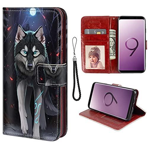 UZEUZA Funda tipo cartera para Samsung Galaxy S9, diseño de lobo y dibujos animados con soporte de soporte, ranuras para tarjetas, funda con tapa para Samsung Galaxy S9