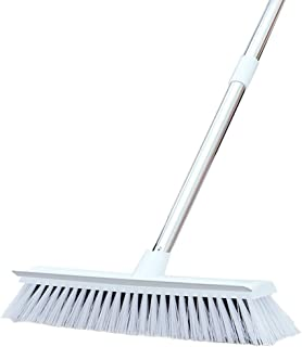 "JEBBLAS White Floor Scrub Brush With Long Handle And Squeegee -47.3"" Bathroom Push Broom Stiff Bristle Grout Brush Tub and..."