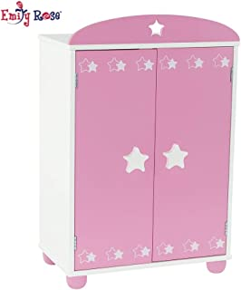 Emily Rose 18 Inch Doll Furniture for American Girl Dolls | Doll Closet Armoire with Star Detail, Includes 5 Wooden Clothes Hangers | Fits 18