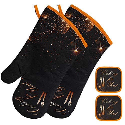 INFANZIA Extra Long Oven Heat Kitchen Mitts and Potholders Set,Heat Resistant of Hot Mitts Heavy Duty Oven Gloves for Baking Cooking Kitchen Grilling,Men Women,4 Pcs,14.2inch