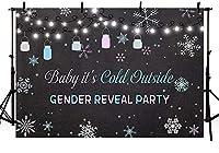 新しいスノーフレーク性別披露パーティーの装飾の背景男の子と女の子青とピンクの小さなボトル赤ちゃんは寒い外でベビーシャワーの写真の背景バナースタジオ写真の小道具ビニール7x5ft