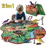 GILOBABY kid dinosaurier spielzeug mit 2 in 1 spielmatte & bume & felsen, pdagogisches lernen dino modell spielzeug fr kinder kleinkind junge mdchen spielzeug geschenk fr 3 jahre alt