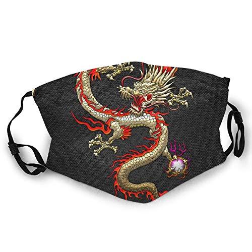 Andrews-GL Máscara facial de dragón chino dorado Fucanglong en negro estampado máscara de esquí sombrero cuello polaina para mujeres hombres
