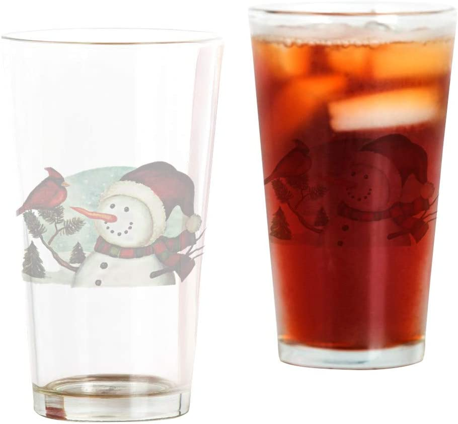 Pint Drinking Glass Christmas Snowman Complete Free Shipping Cardinal Frosty San Diego Mall