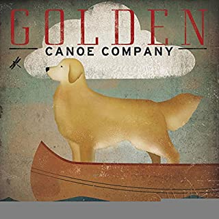 Golden Dog Canoe Co by Ryan Fowler Sign Dog Lab Boats Animals Print Poster 12x12