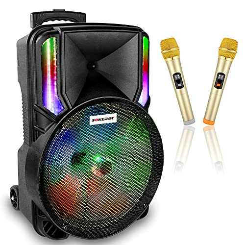 Karaoke Machine,SOKERDY Portable Bluetooth Singing Karaoke Machine PA Party Speaker System with 15' Subwoofer, 2 Wireless Microphones,Rechargeable Battery,LED Lights, FM Radio,Supports TF,USB/AUX