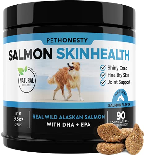 PetHonesty Salmon SkinHealth for Dogs - Omega 3 Fish Oil for Dogs All-Natural Wild Alaskan Salmon Chews for Dogs for Healthy Skin & Coat  Helps with Itchy Skin  Dog Allergies  Reduce Shedding - 90 Ct