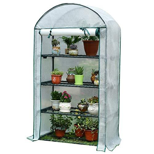 Invernadero Mini Invernadero 4 Niveles Interior Al Aire Libre con Cubierta de PE y Puerta con Cremallera Enrollable, Carpa Portátil Impermeable para Plantas para Cultivar Semillas y Plántulas