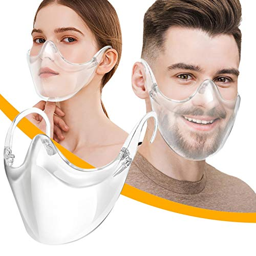 Anti Fog Durable Transparent Face Msaks, Clear Shield Combine Plastic Clear Face Bandanas, Breathable & Reusable, Visible Expression for Adults, Also for Deaf and Hard of Hearing (1, Transparent)