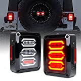 Xprite Clear Lens Red LED Tail Brake Light Assembly w/Turn Signal & Back Up For 2007-2018 Jeep Wrangler JK JKU - G3 Diamond Series