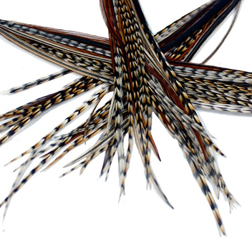 25 extensions de véritables plumes pour cheveux : courtes et fines, 18-23 cm avec des anneaux et une boucle