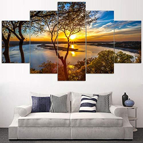 Murtall canvasdruk 5 Hd gedrukte modulaire canvas foto's 5 stuks boom zonsondergang zonneschijn seascape schilderij muurkunst moderne plakfolie decoratie Room Home-150x80cm
