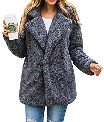 PRETTYGARDEN Women's Fashion Long Sleeve Lapel Zip Up Faux Shearling Shaggy Oversized Coat Jacket with Pockets Warm Winter (Small, Z-Dark Grey)