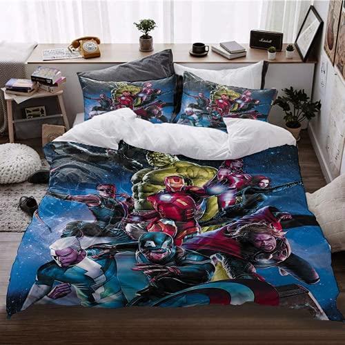 Amacigana Hulk - Juego de ropa de cama 3D, diseño de dibujos animados, 1 funda nórdica para niños...