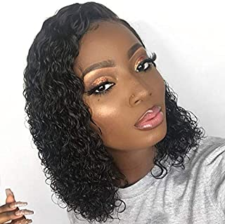 150% Density Brazilian Short Curly Bob Wig Lace Front Human Hair with Baby Hair Pre-Plucked