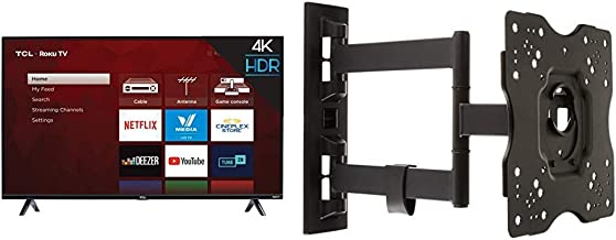 TCL 50S425 50 inch 4K Smart LED Roku TV (2019) & AmazonBasics Heavy-Duty, Full Motion Articulating TV Wall Mount for 22-inch to 55-inch LED, LCD, Flat Screen TVs