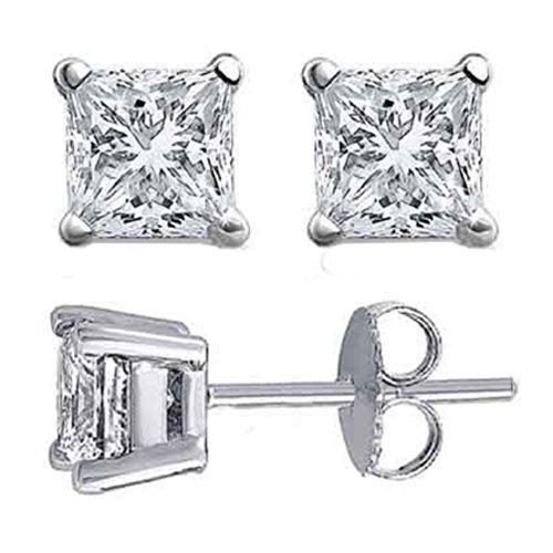 Orecchini a perno da donna, diamante taglio principessa da 1/2 carato