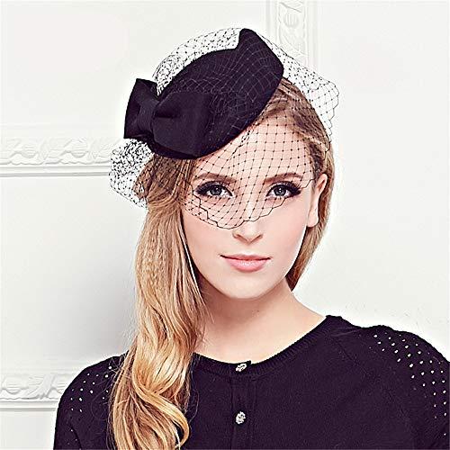 Nunca te rindas Sombreros Retros británicos de Malla de Las Mujeres al por Mayor Sombrero del Banquete Nupcial Tiara Sombrero (Color : Negro)