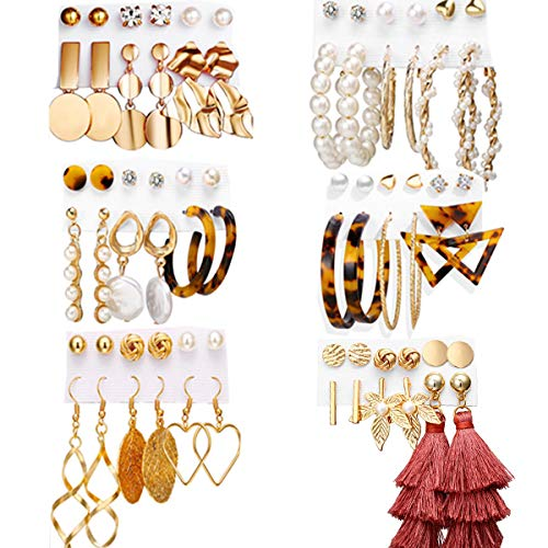 36 Pairs Fashion Earrings Set for Women Girls,hoop earrings for women Colorful Earrings with Pearl Earings Tassel Earrings Bohemian Acrylic Hoop Stud Drop Dangle Earring for Birthday/Party