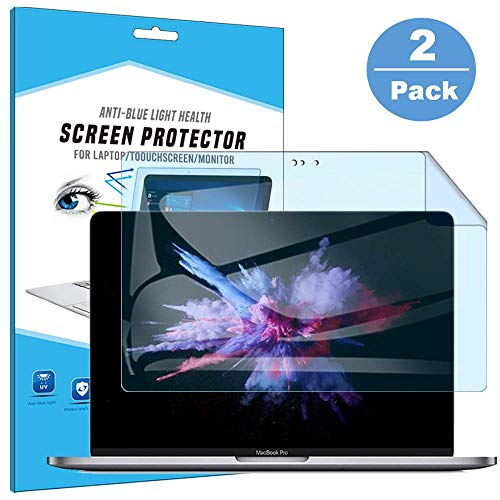 FiiMoo Anti Blue Screen Protector Compatible with MacBook Pro 15 Inch (2016-2019), Anti Glare Filter Film Eye Protection Blue Light Blocking Screen Protector for MacBook Pro 15' (2 Pack