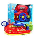 Playkidz My First Steering Wheel, Driving Dashboard Pretend Play Set with Lights, Sound and Phone,...