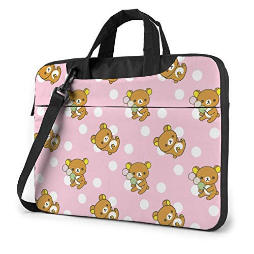 Portable Laptop Sleeve with Handle MacBook 13/14/15 Inch Tablet Carrying Case Cases Rilakkuma Cute Pattern Neoprene Waterproof Compatible Notebook Computer Bag with Shoulder & Back Belt