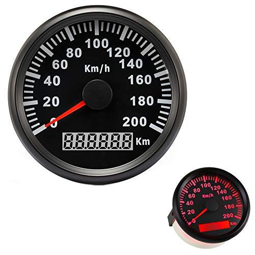 防水GPSスピードメーター 走行距離計 デジタル ポインター表示ゲージ 200KM/H 車用 オートバイ トラクター トラック ボート 船舶 ヨット オフロード車 レッドバックライト 85mm 9-32V (ブラック)