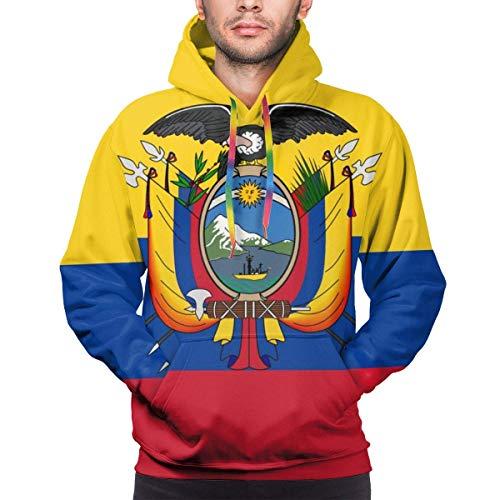 ZQHRS Sudaderas con Capucha clásicas para Hombre de la Bandera de Ecuador con Bolsillo