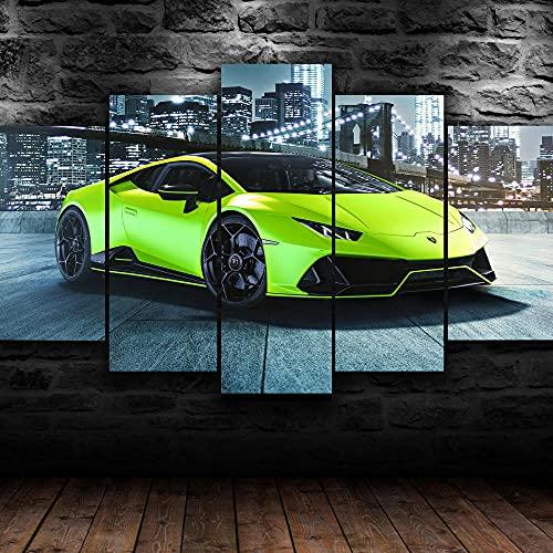 FGART Cuadro sobre Lienzo 5 Piezas Impresión En Lienzo Art Decorativo Lambor huracán Super Coche Verde Modernos Mural Fotos HD Impresión Carteles