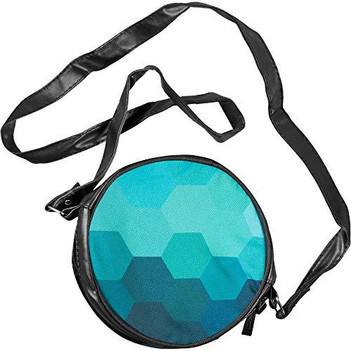 Pealu Kleine Runde Hexagon Blau Kunstleder Umhängetasche Fullprint Tasche Schultertasche