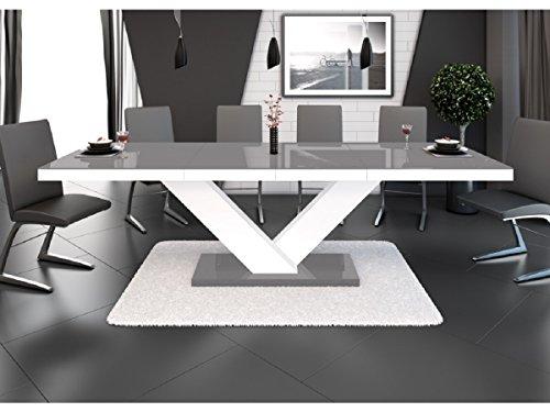 H mobile tavolo da pranzo design allungabile 160÷ 256cm x P: 89cm x H: 75cm–Grigio/Bianco