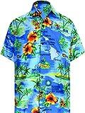 LA LEELA Hawaiana Camisa para Hombre Señores Manga Corta Bolsillo Delantero Vacaciones Verano Hawaiian Shirt M-(in cms):101-111 Azul del Trullo_W195