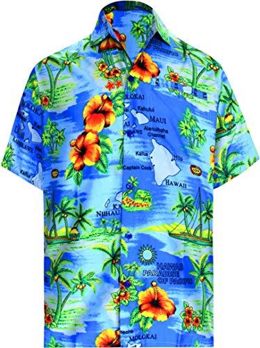 LA LEELA Heren hibiscus gedrukt knop gedrukt Hawaïhemd