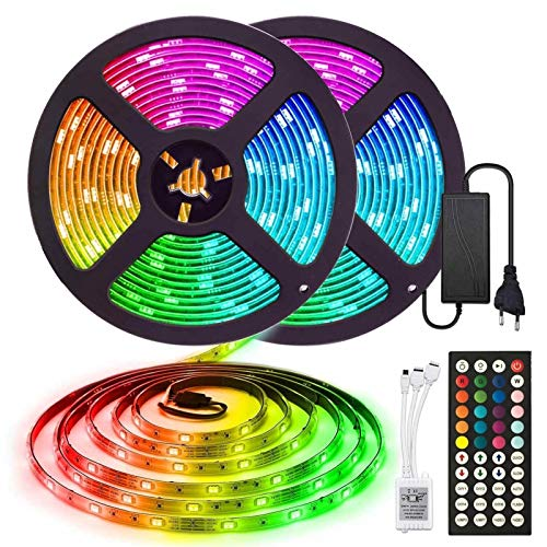 5050 ceinture flexible 30leds / m bande de lumière LED RVB SMD 5/10 / 15m non étanche de la diode IP20 DIODE DC 12V LED bande de lumière, contrôleur de LED + adaptateur Strip de lumière extérieure TOM