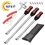 Seven Sparta Tire Spoons Motorcycle, Tire Changing Spoons Removal Tools for Dirt Bike, 3 PCS Tire Spoons + Valve with 6 Valve Cores + 2 Rim Protectors (1 PC 14.5'+ 2 PCS 11')
