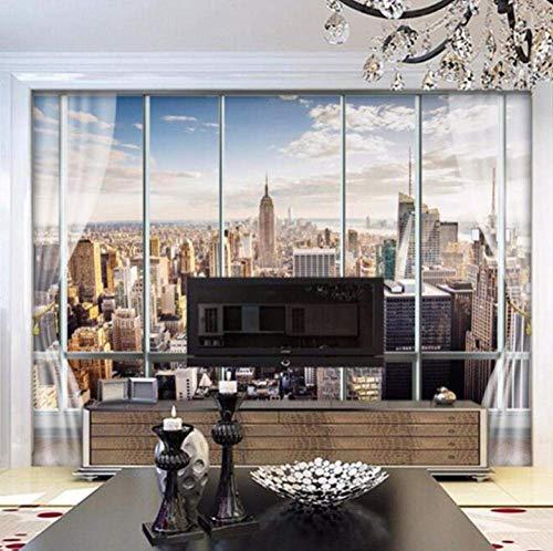 Fotomurales 3D ZZZXX Vista de La Ciudad de Nueva York desde La Ventana 287cm x 158cm Xxl Papel Pintado Tejido No Tejido Decoración De Pared Decorativos Murales Moderna De Diseno Fotográfico