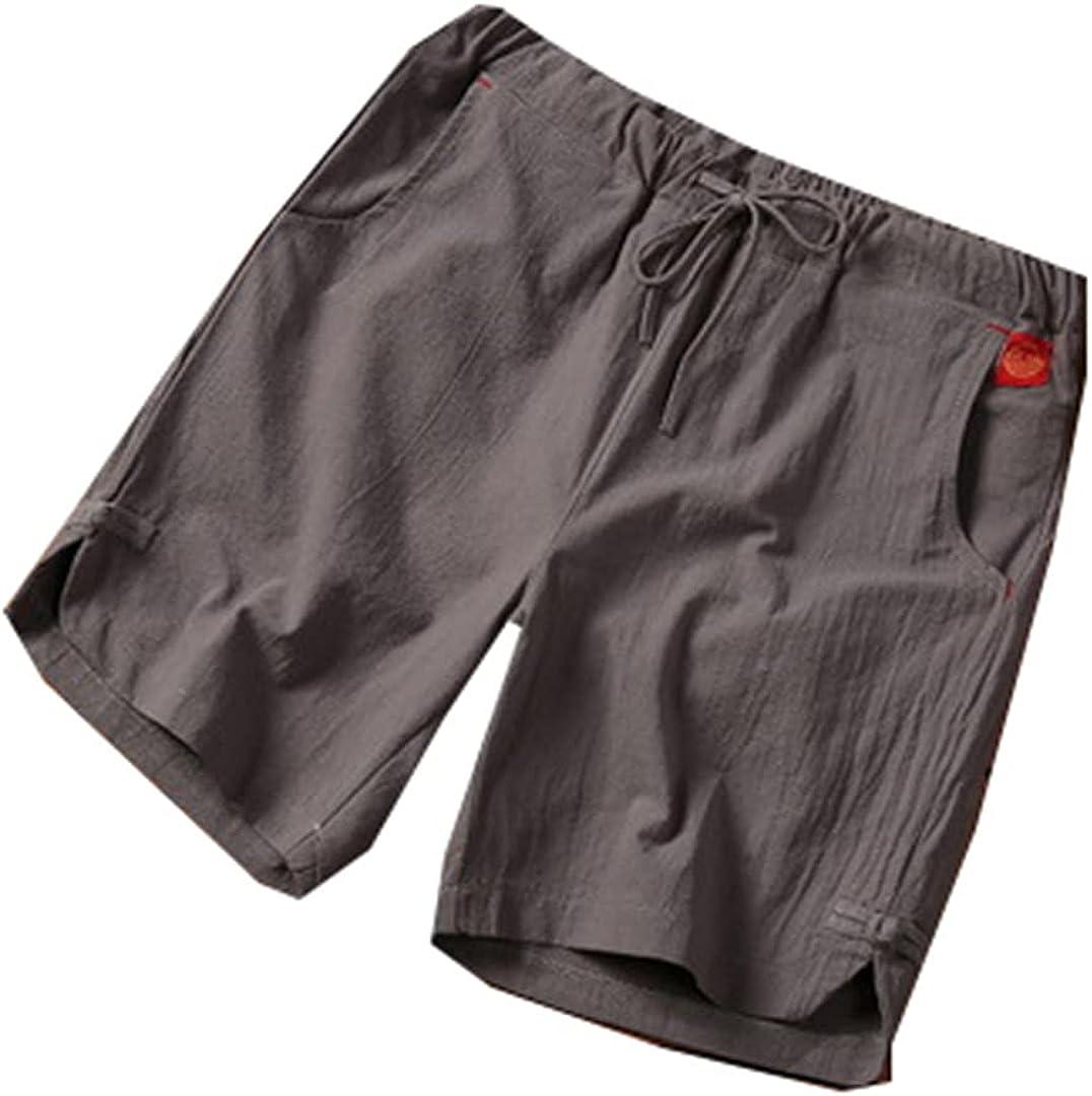 Kevents Summer Loose Shorts Men Hip Hop Casual Mens Shorts Cotton Linen Breathable Short Pant Plus Size