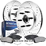 Detroit Axle - 2WD 6-Lug Front Drilled and Slotted Disc Rotors + Brake Pads Replacement for Ford F-150 Lincoln Mark LT - 4pc Set