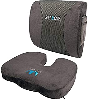SOFTaCARE Seat Cushion Coccyx Orthopedic Memory Foam and Lumbar Support Pillow, Set of 2, Dark Gray