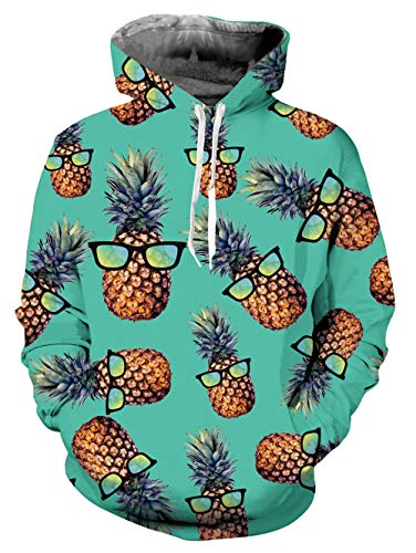 ALISISTER Unisex 3D Druck Hoodie Kapuzenpullover Coole Ananas Grafik Hooded Sweatshirt Herbst Winter Outdoor Pullover Hoodies mit Fleece-Innenseite für Herren Damen M