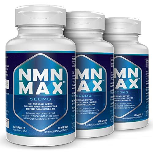 NMN Capsules - 500mg Capsule - Maximum Strength Nicotinamide Mononucleotide Supplement- Improves Energy, Focus & Clarity (180 Capsules)