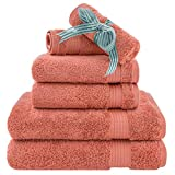 Hotel & Spa Quality Super Absorbent and Soft, Cotton, 6 Piece Turkish Towel Set for Kitchen and Decorative Bathroom Sets Includes 2 Bath Towels 2 Hand Towels 2 Washcloths, Coral