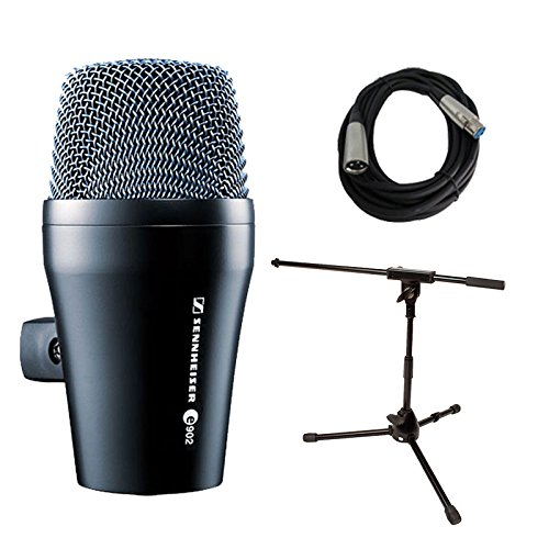 Sennheiser e 902 Kick Drum/Bass Microphone with Mic Stand & XLR Cable Bundle