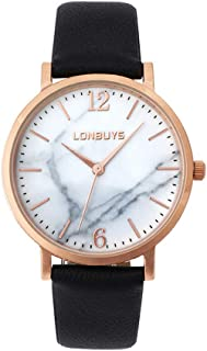 Business Analogous Casual Watches Quartz Waterproof Wrist Watch IP Rose Gold Leather Band for Girl Women