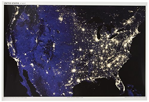 WonderClub 13x19 Anchor Maps United States at Night Poster - Impressive Satellite Photography of Numerous Light Sources (Cities, Fires, Oil Wells, etc.) in The Contiguous USA [Rolled] by Anchor Maps