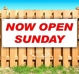 Now Open Sunday 13 oz Heavy Duty Vinyl Banner Sign with Metal Grommets, New, Store, Advertising, Flag, (Many Sizes Available)