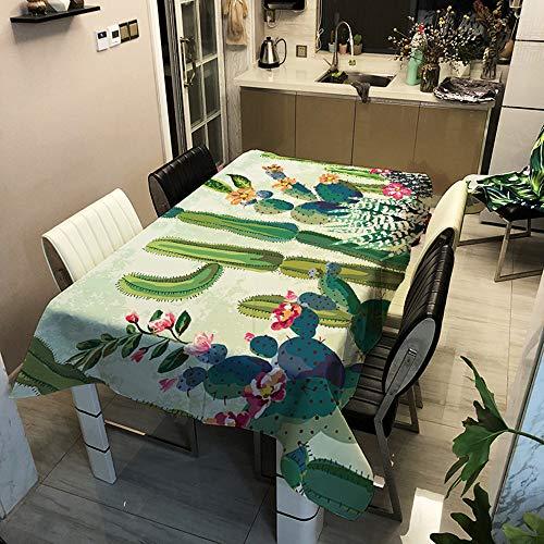 Meiju Tovaglie da Tavolo Antimacchia Rettangolare, Impermeabile a Prova di Olio e Sporco Poliestere, Tavolo da Pranzo per Matrimoni, Cene e Feste di Compleanno, Cactus Verde (140 * 180cm,L)