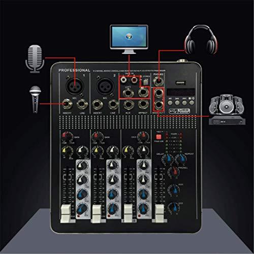 DJ Controller Mixer Vier-Kanäle mit Bluetooth mit Wirkung USB Schnittstelle Netzwerk Karaoke Anchor Dedicated Kleine Mixer Unterstützungs-USB / SD-Karten-Schwarz All-In-One Deck DJ Controller für Sera